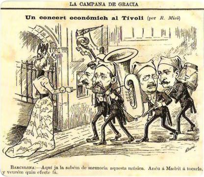Els 4 presidents i el concert econòmic satiritzat a La Campana de Gràcia.   (Barcelona:-Aqui ja sabém de memoria aquesta música. Anéu a Madrit á tocarla y veurém quin efecte fa [sic])