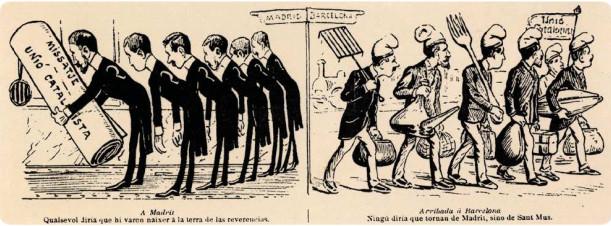 Dibuix satíric al setmanari La Campana de Gràcia referent al missatge a la reina regent.